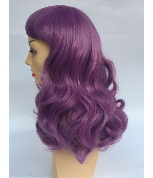 Purple Wig With Bangs Curly