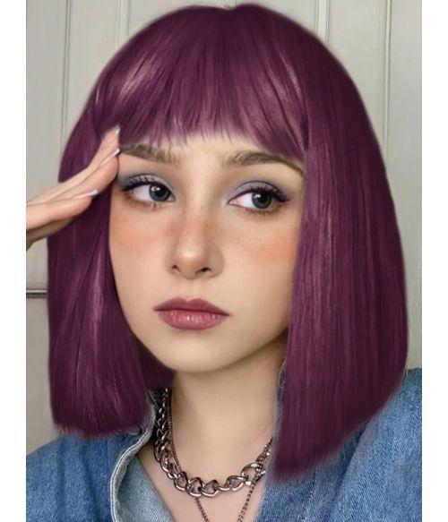 Purple Wig With Bangs Straight Bob