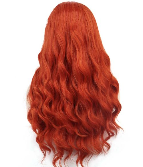 Red Hair Wig Lace Front Long Wavy
