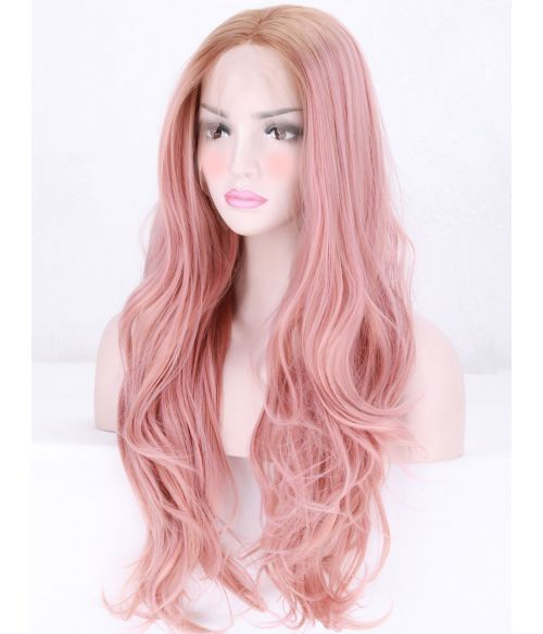 Rose Gold Pink Lace Front Wig