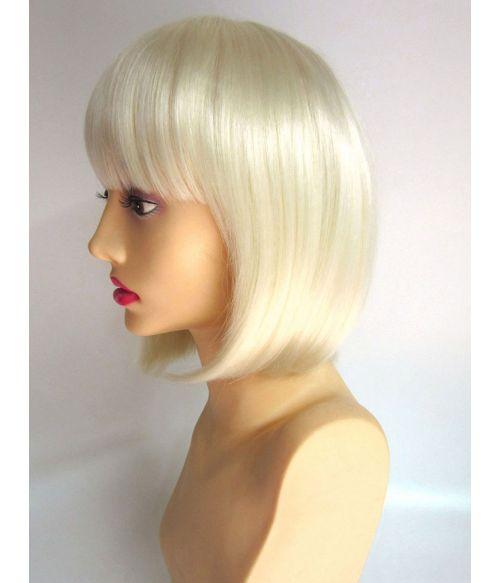 Short Platinum Blonde Bob Wig With Bangs