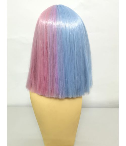Split Color Wig Bob Pink Blue