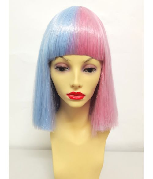 Split Color Wig Half Pink Half Blue