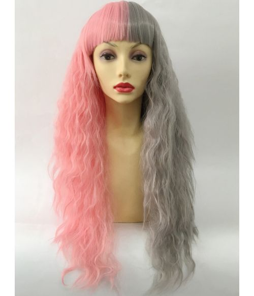 Split Colour Wig Pink And Grey
