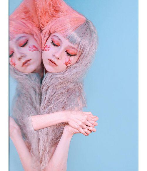 Wig Half Pink Half Grey Hair