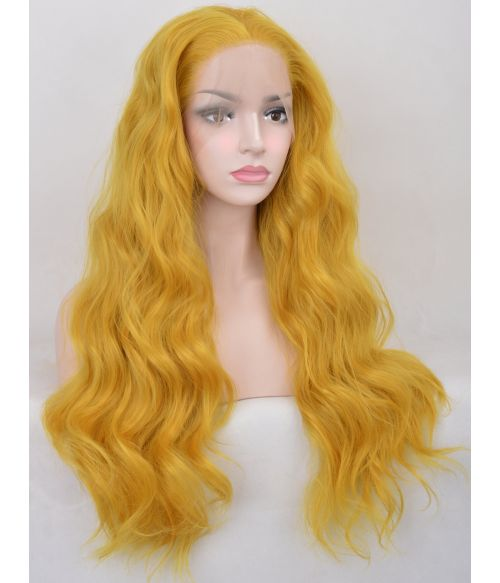 Yellow Wig Lace Front Long Wavy
