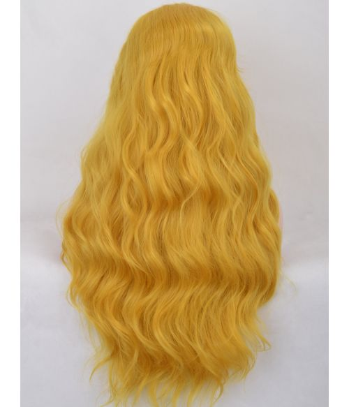 Yellow Wig Lace Front Wavy Long